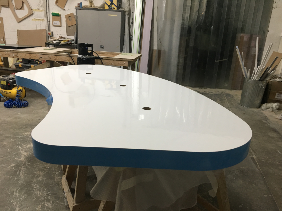 100mm deep over900mm wide custom made hi gloss white bar